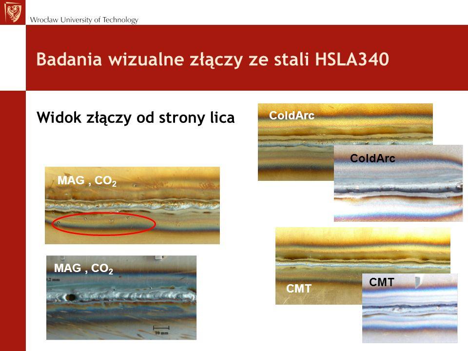 Badania wizualne złączy ze stali HSLA340