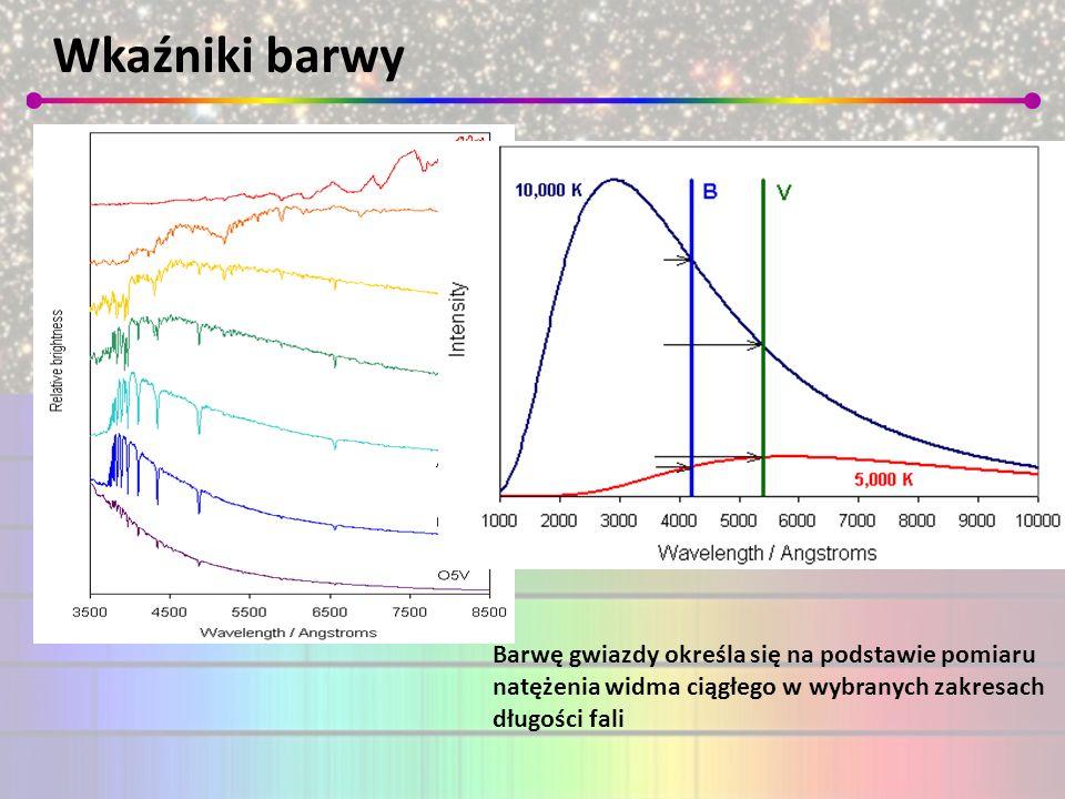 Wkaźniki barwy Barwę gwiazdy określa się na podstawie pomiaru