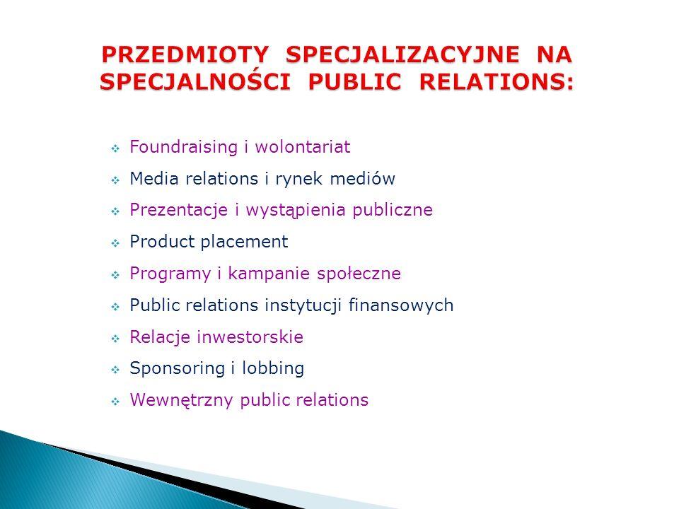 PRZEDMIOTY SPECJALIZACYJNE NA SPECJALNOŚCI PUBLIC RELATIONS: