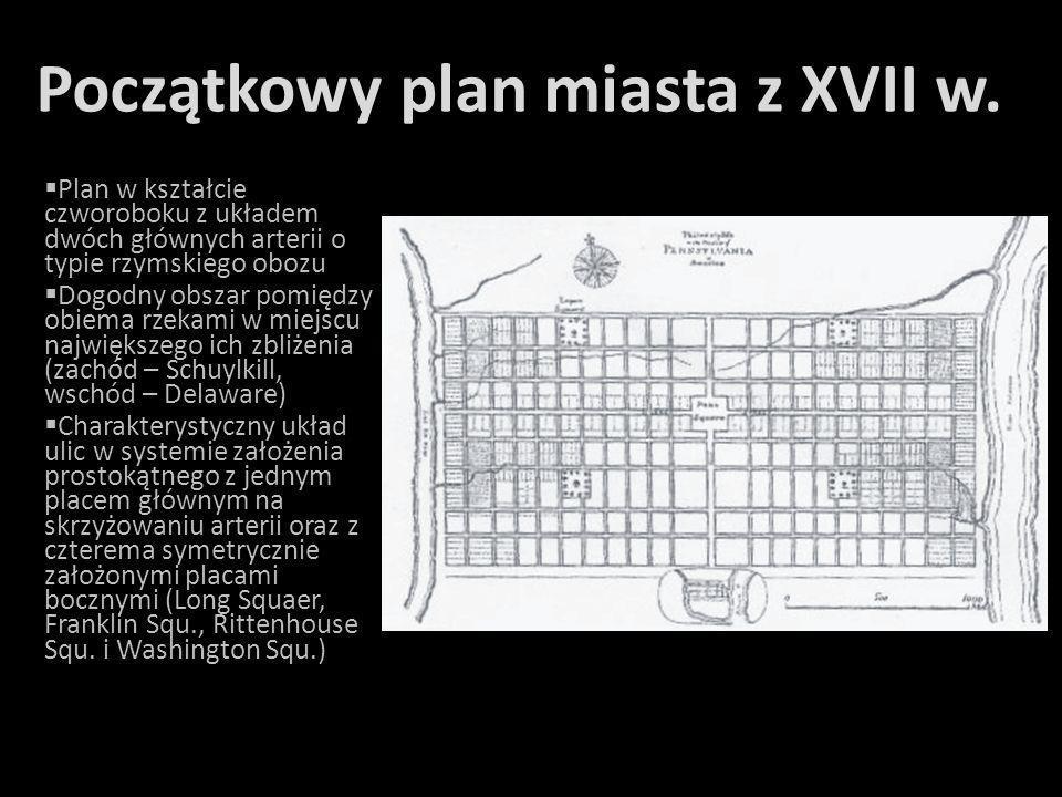 Początkowy plan miasta z XVII w.