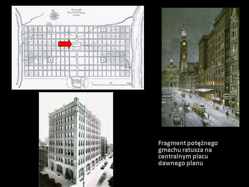 Fragment potężnego gmachu ratusza na centralnym placu dawnego planu