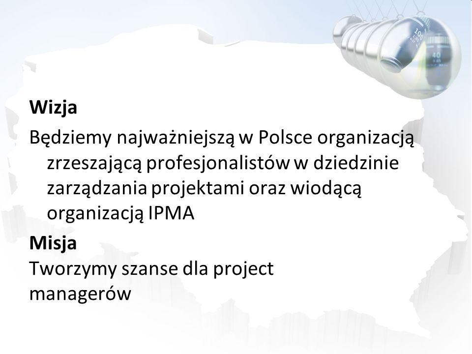 Wizja Będziemy najważniejszą w Polsce organizacją zrzeszającą profesjonalistów w dziedzinie zarządzania projektami oraz wiodącą organizacją IPMA Misja Tworzymy szanse dla project managerów