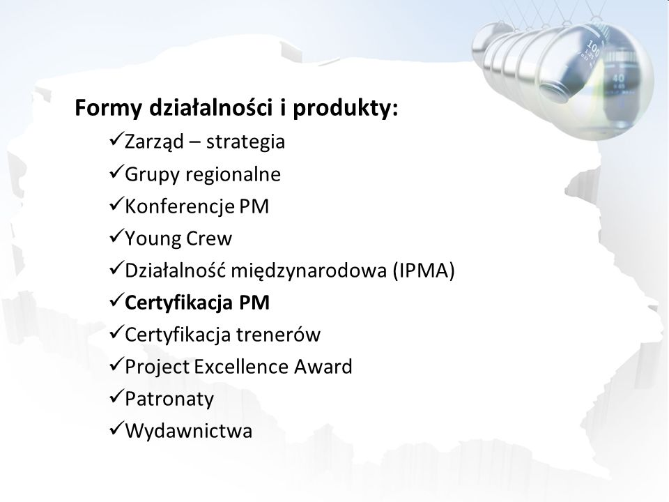 Formy działalności i produkty: