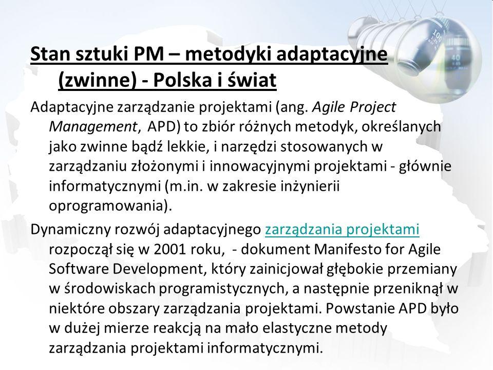 Stan sztuki PM – metodyki adaptacyjne (zwinne) - Polska i świat