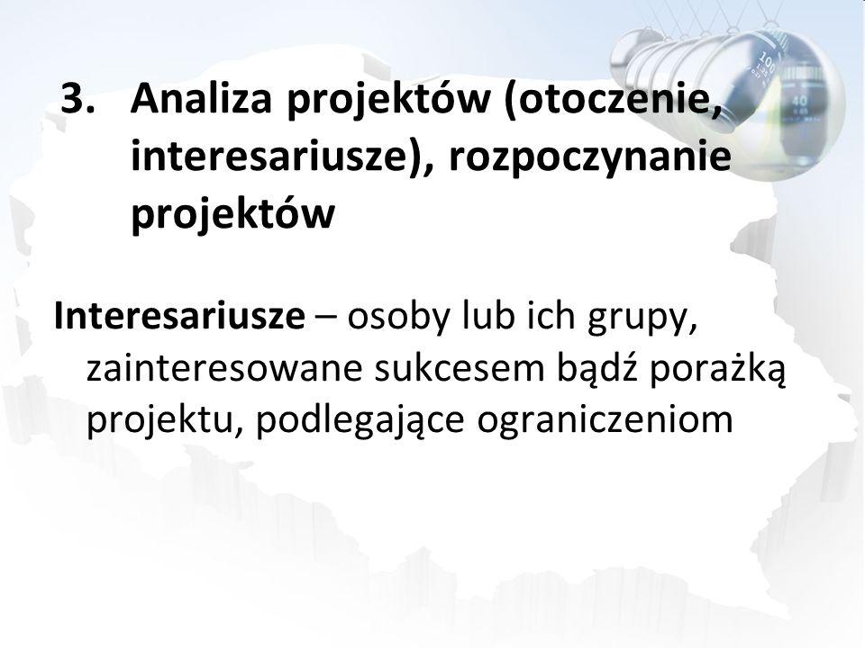 Analiza projektów (otoczenie, interesariusze), rozpoczynanie projektów