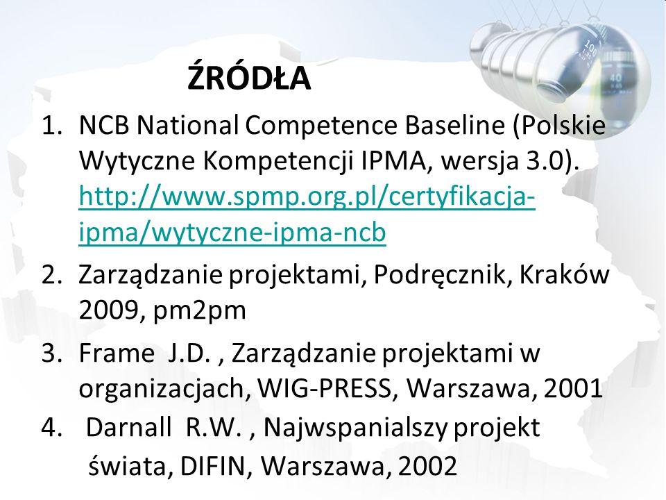 ŹRÓDŁA NCB National Competence Baseline (Polskie Wytyczne Kompetencji IPMA, wersja 3.0). http://www.spmp.org.pl/certyfikacja-ipma/wytyczne-ipma-ncb.