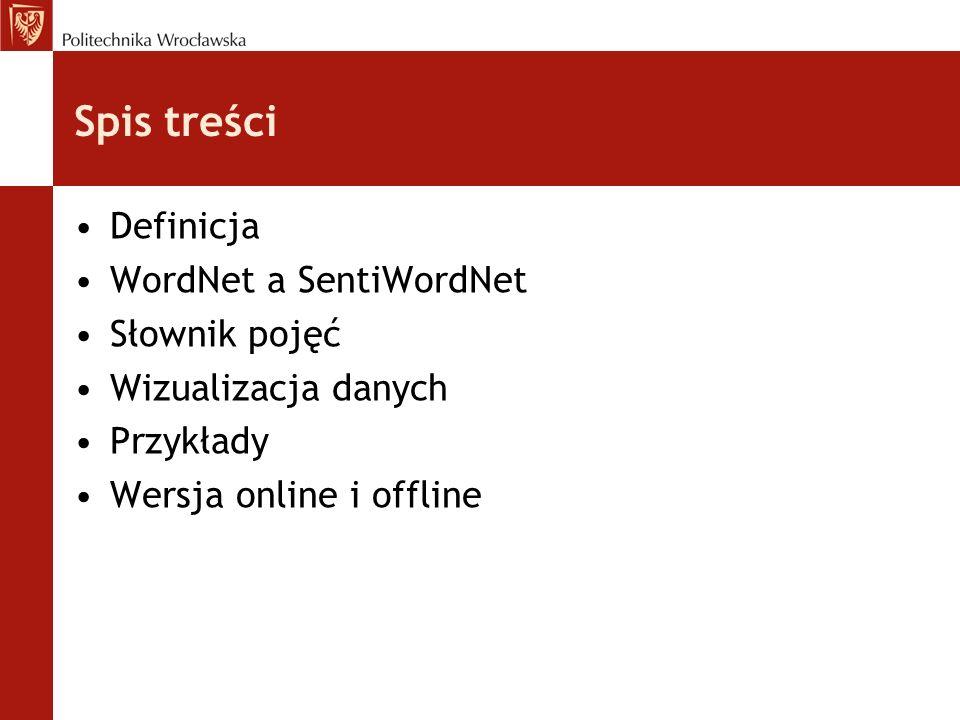 Spis treści Definicja WordNet a SentiWordNet Słownik pojęć