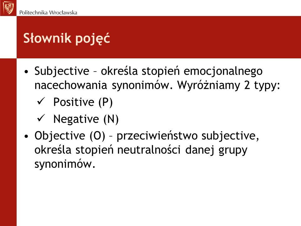 Słownik pojęć Subjective – określa stopień emocjonalnego nacechowania synonimów. Wyróżniamy 2 typy: