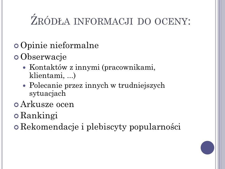 Źródła informacji do oceny: