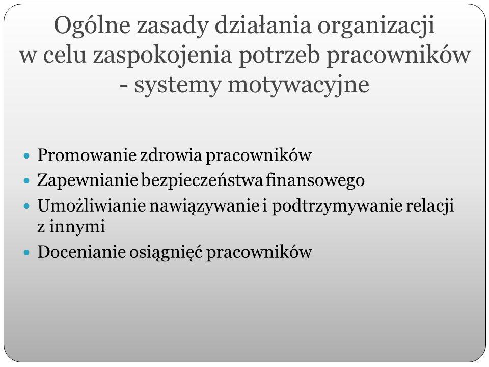 Ogólne zasady działania organizacji w celu zaspokojenia potrzeb pracowników - systemy motywacyjne