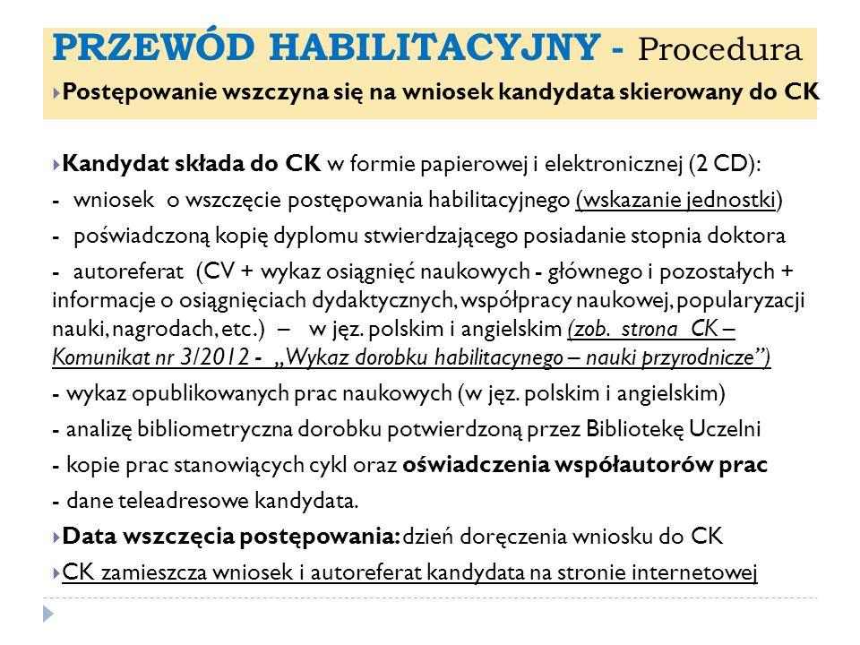 PRZEWÓD HABILITACYJNY - Procedura