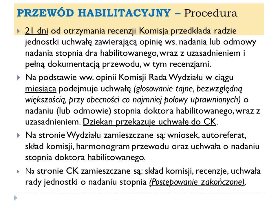 PRZEWÓD HABILITACYJNY – Procedura