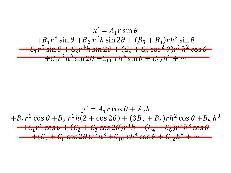 𝑥′= 𝐴 1 𝑟 sin 𝜃 +𝐵 1 𝑟 3 sin 𝜃 +𝐵 2 𝑟 2 ℎ sin 2𝜃 + 𝐵 3 + 𝐵 4 𝑟 ℎ 2 sin 𝜃.