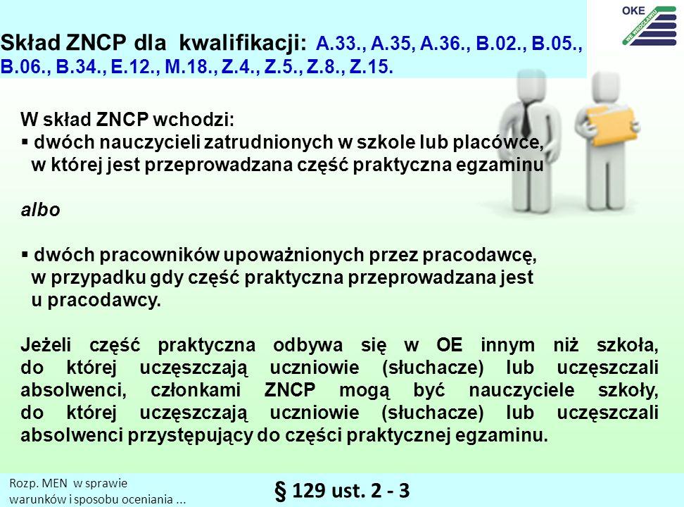 Skład ZNCP dla kwalifikacji: A. 33. , A. 35, A. 36. , B. 02. , B. 05