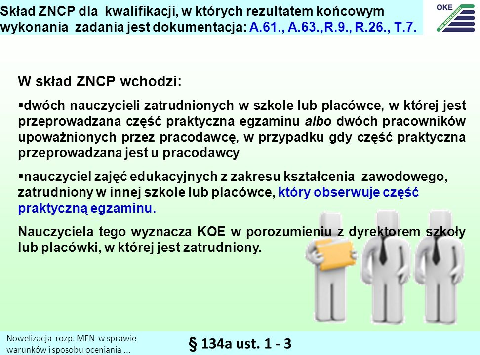 § 134a ust. 1 - 3 W skład ZNCP wchodzi: