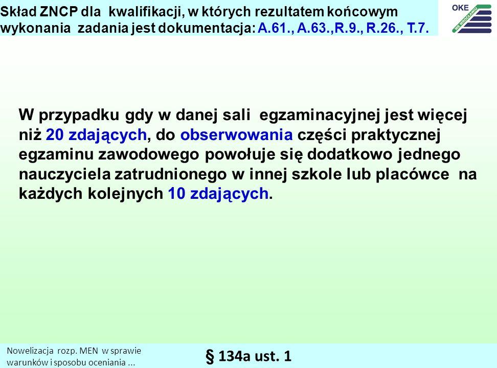 Skład ZNCP dla kwalifikacji, w których rezultatem końcowym wykonania zadania jest dokumentacja: A.61., A.63.,R.9., R.26., T.7.