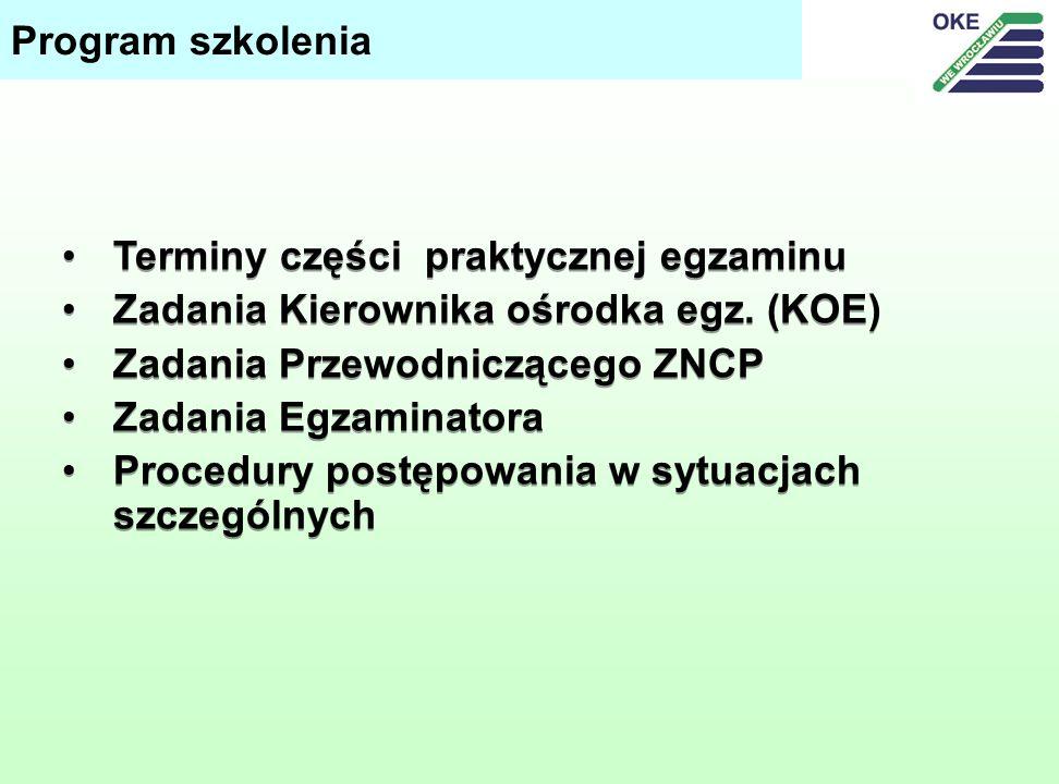 Program szkolenia Terminy części praktycznej egzaminu. Zadania Kierownika ośrodka egz. (KOE) Zadania Przewodniczącego ZNCP.