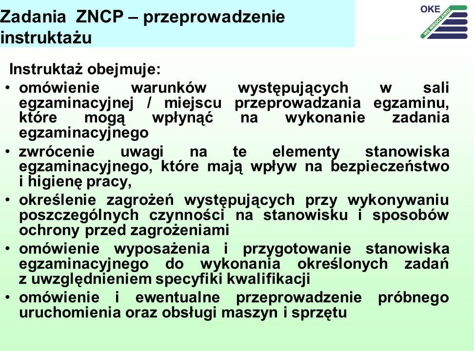 Zadania ZNCP – przeprowadzenie instruktażu