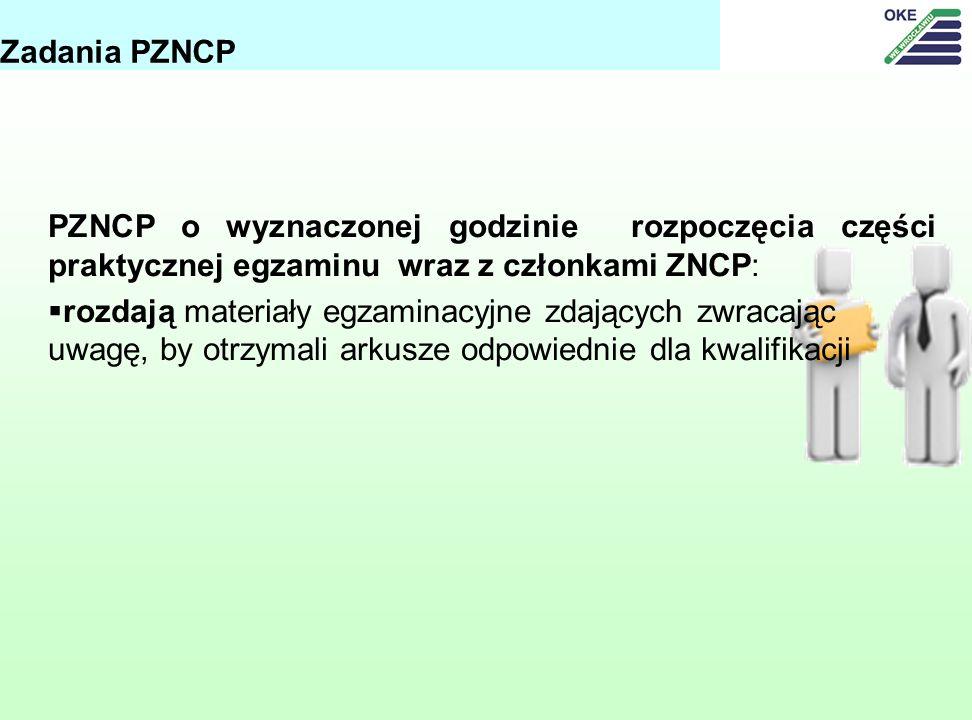Zadania PZNCP PZNCP o wyznaczonej godzinie rozpoczęcia części praktycznej egzaminu wraz z członkami ZNCP: