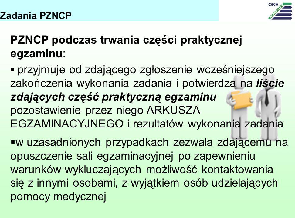 PZNCP podczas trwania części praktycznej egzaminu: