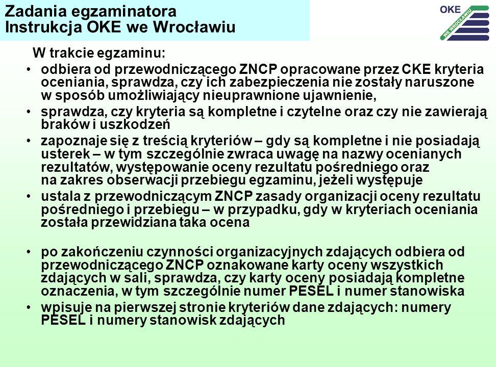 Zadania egzaminatora Instrukcja OKE we Wrocławiu