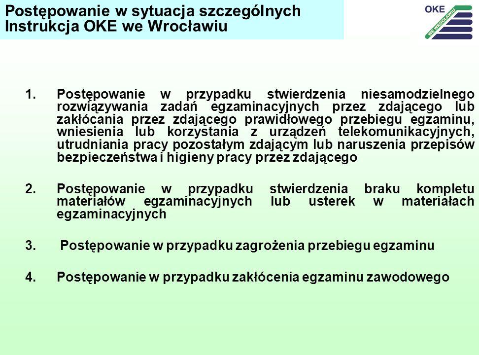 Postępowanie w sytuacja szczególnych Instrukcja OKE we Wrocławiu