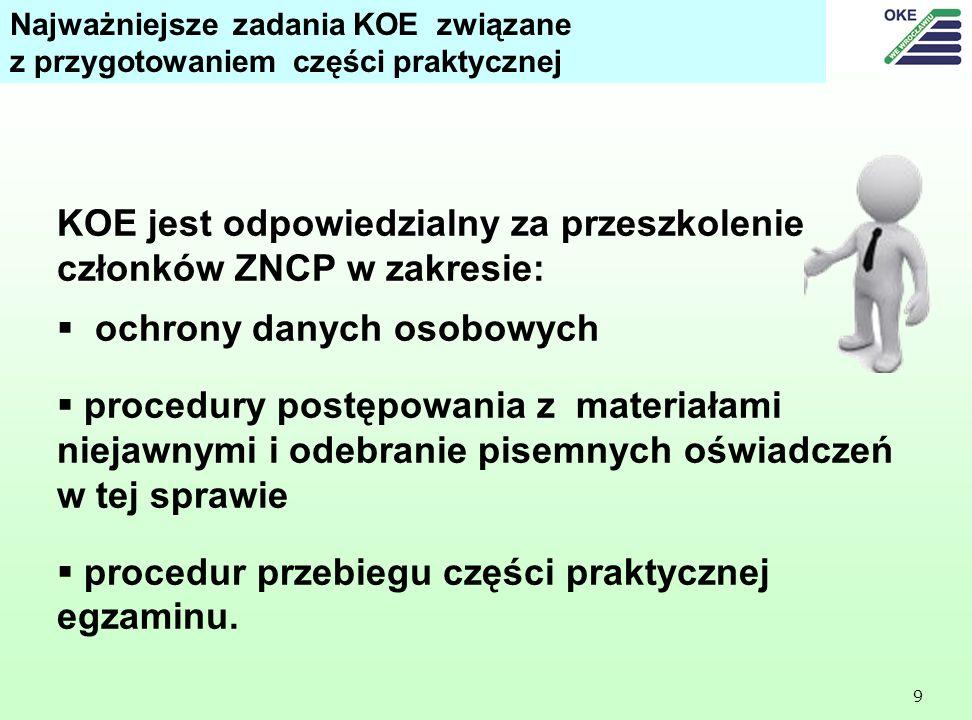 KOE jest odpowiedzialny za przeszkolenie członków ZNCP w zakresie: