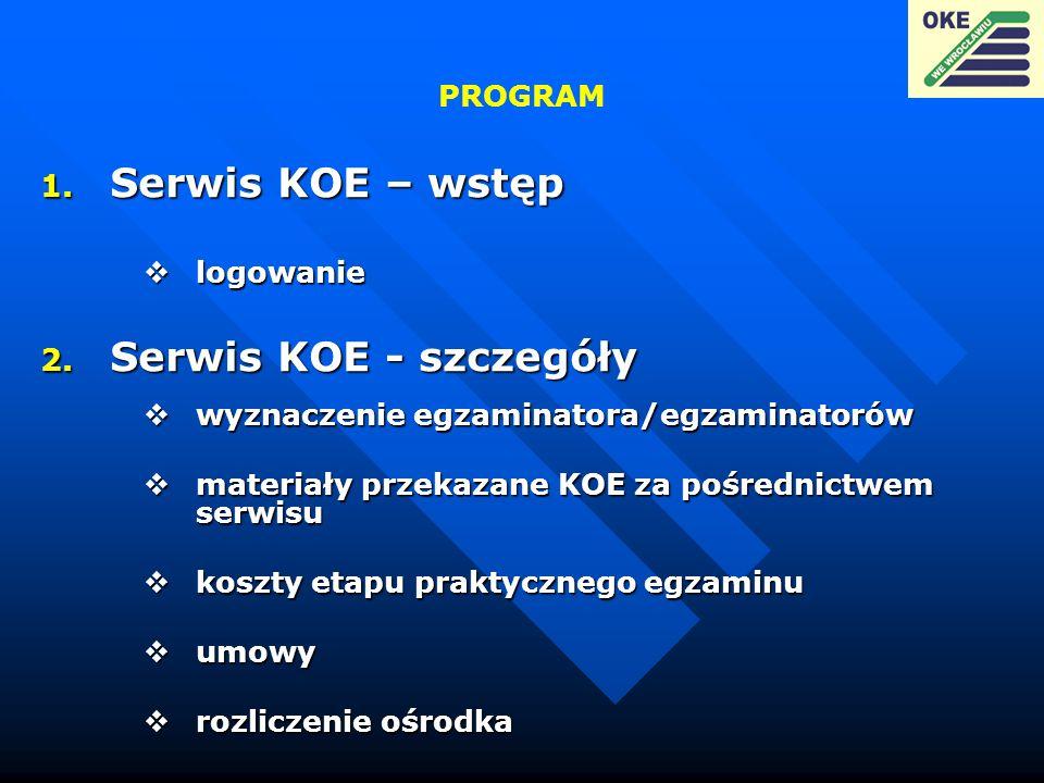 Serwis KOE – wstęp Serwis KOE - szczegóły PROGRAM logowanie