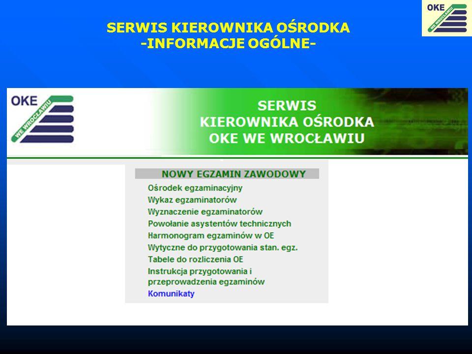 SERWIS KIEROWNIKA OŚRODKA -INFORMACJE OGÓLNE-