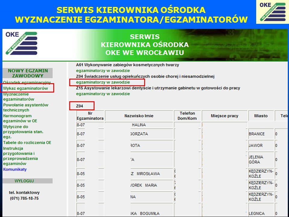 SERWIS KIEROWNIKA OŚRODKA WYZNACZENIE EGZAMINATORA/EGZAMINATORÓW