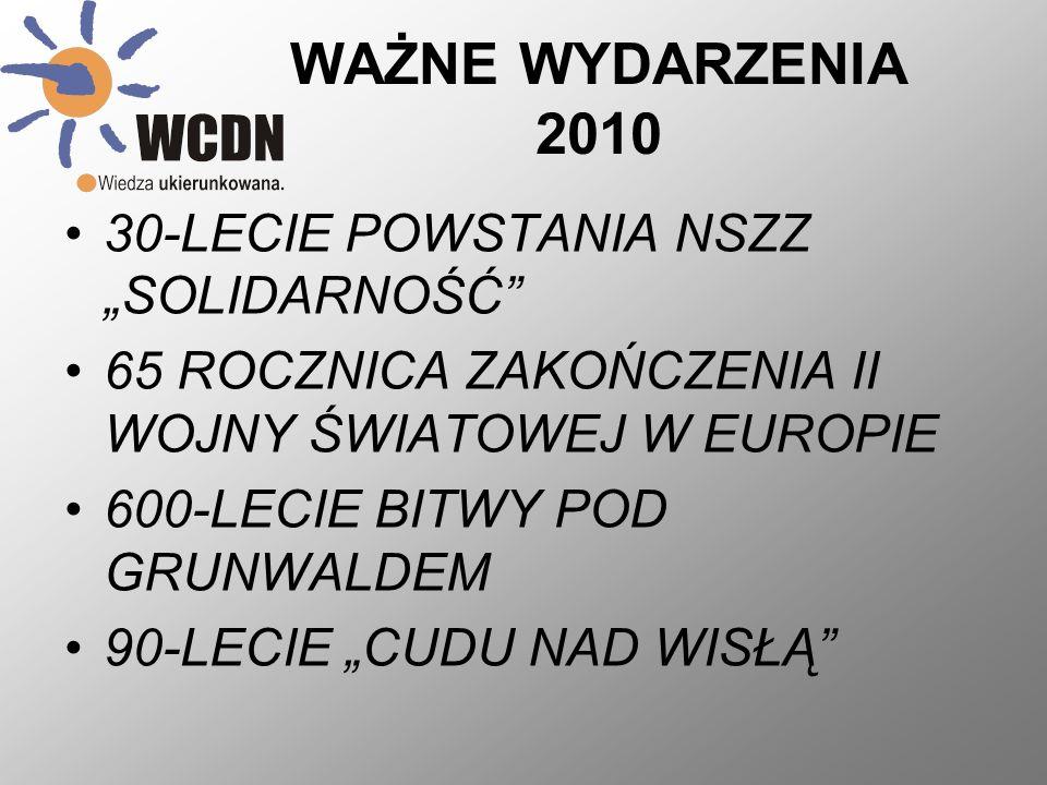 """WAŻNE WYDARZENIA 2010 30-LECIE POWSTANIA NSZZ """"SOLIDARNOŚĆ"""