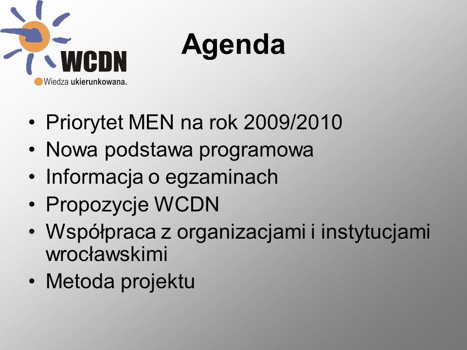 Agenda Priorytet MEN na rok 2009/2010 Nowa podstawa programowa