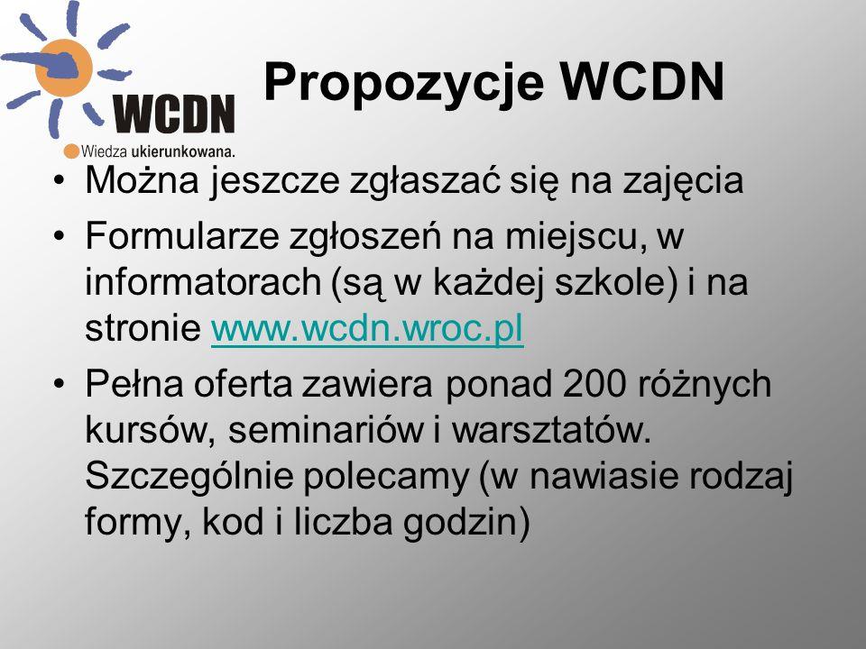 Propozycje WCDN Można jeszcze zgłaszać się na zajęcia
