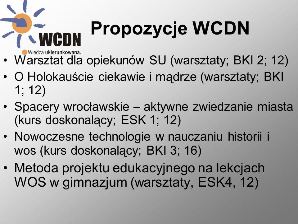 Propozycje WCDN Warsztat dla opiekunów SU (warsztaty; BKI 2; 12) O Holokauście ciekawie i mądrze (warsztaty; BKI 1; 12)