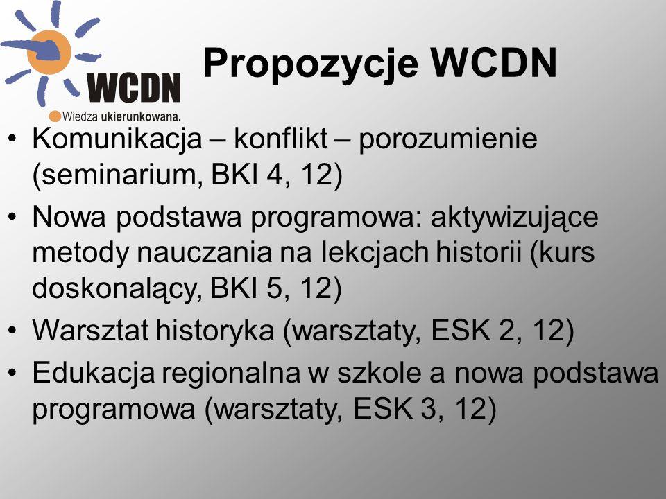 Propozycje WCDN Komunikacja – konflikt – porozumienie (seminarium, BKI 4, 12)