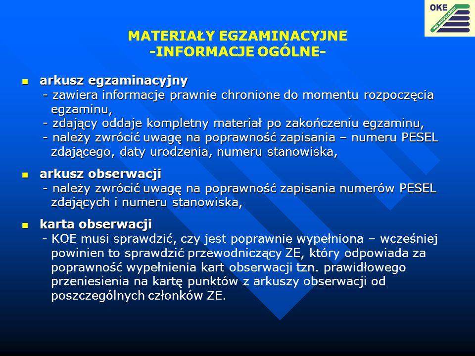 MATERIAŁY EGZAMINACYJNE -INFORMACJE OGÓLNE-