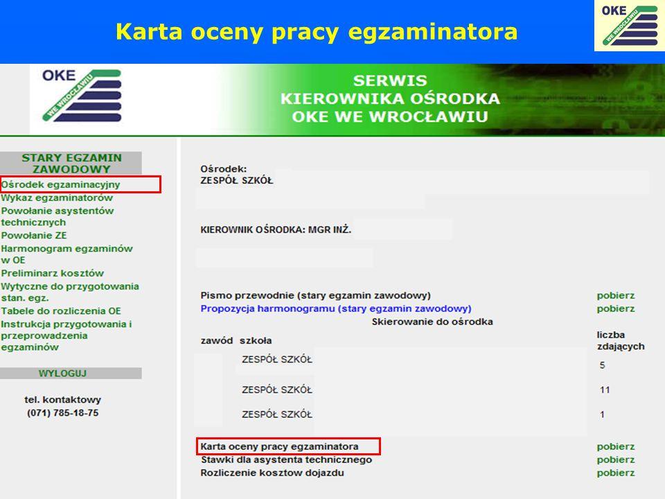 Karta oceny pracy egzaminatora