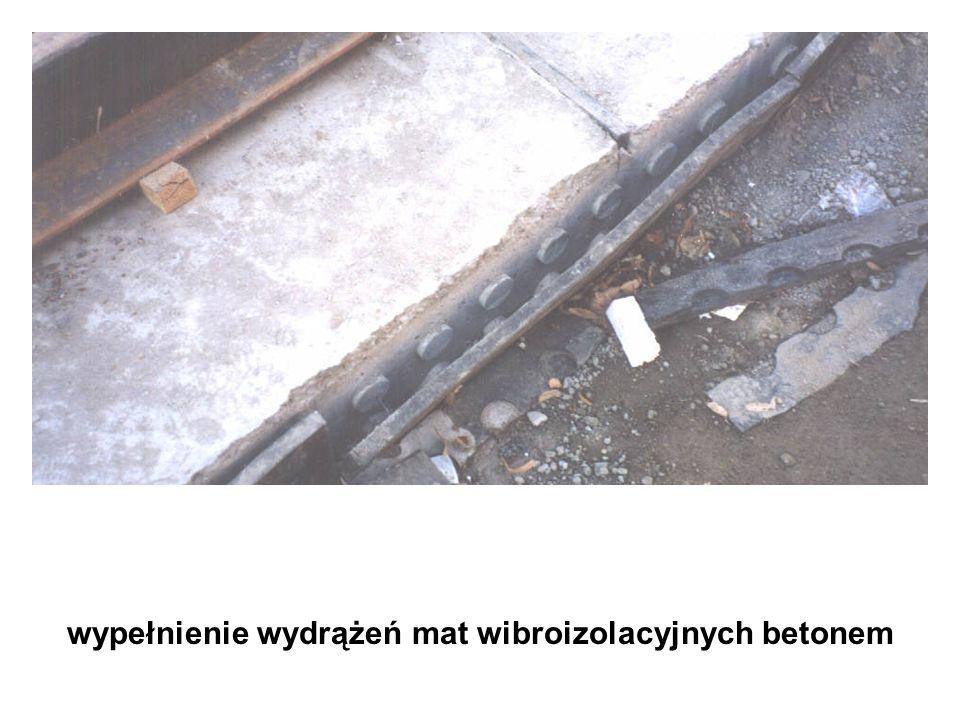wypełnienie wydrążeń mat wibroizolacyjnych betonem