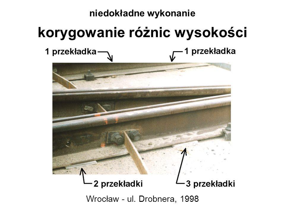niedokładne wykonanie korygowanie różnic wysokości