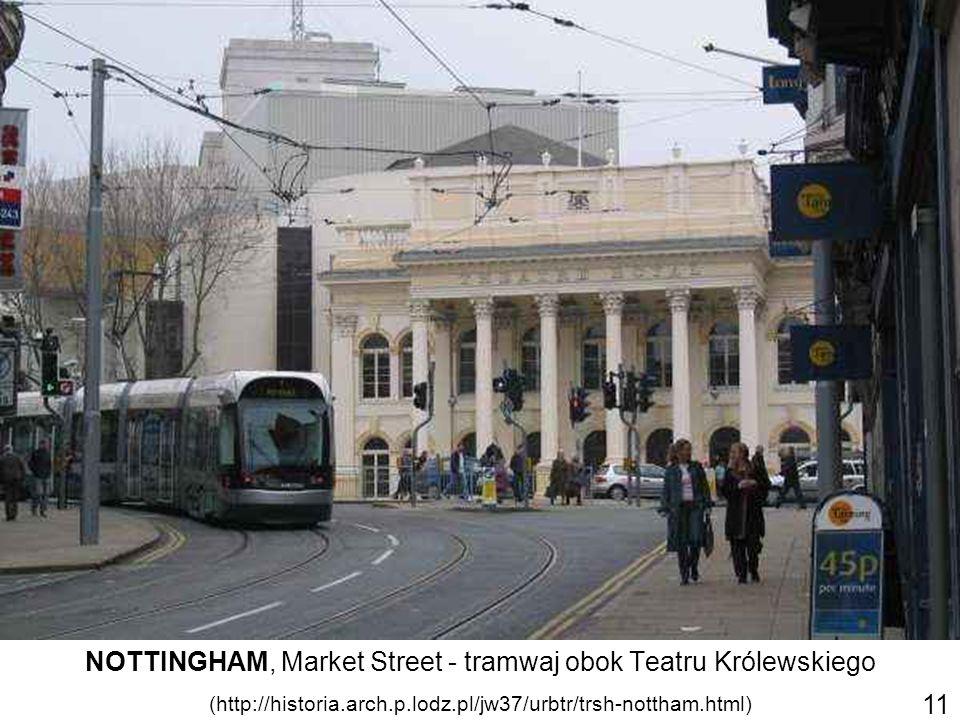 NOTTINGHAM, Market Street - tramwaj obok Teatru Królewskiego