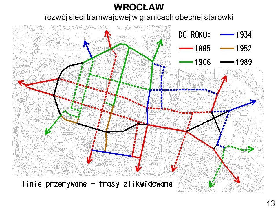 WROCŁAW rozwój sieci tramwajowej w granicach obecnej starówki