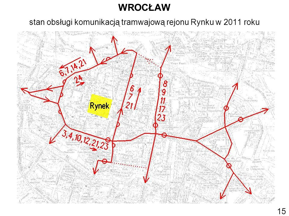 WROCŁAW stan obsługi komunikacją tramwajową rejonu Rynku w 2011 roku