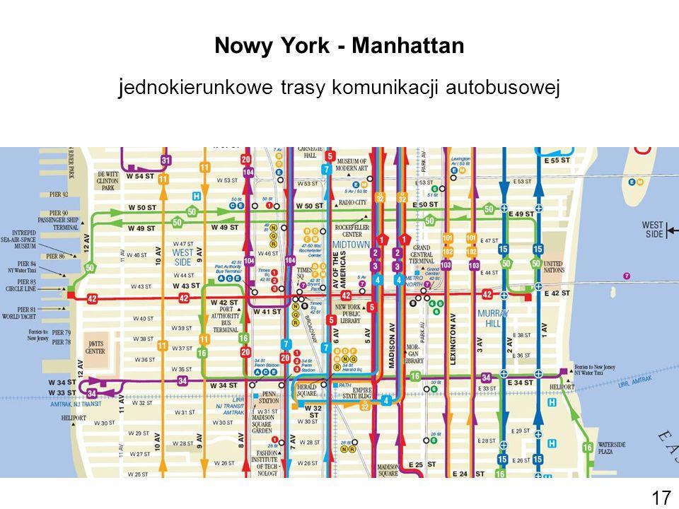 Nowy York - Manhattan jednokierunkowe trasy komunikacji autobusowej