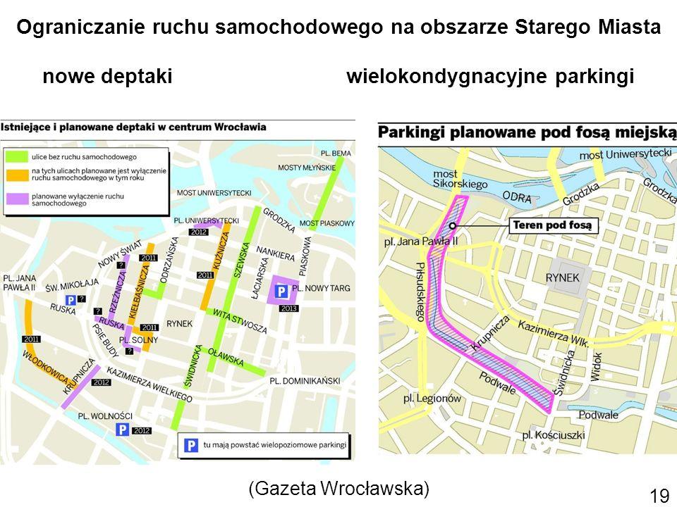 Ograniczanie ruchu samochodowego na obszarze Starego Miasta nowe deptaki wielokondygnacyjne parkingi