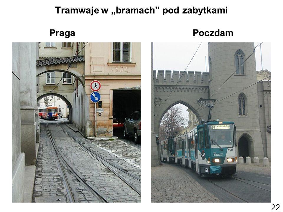 """Tramwaje w """"bramach pod zabytkami Praga Poczdam"""