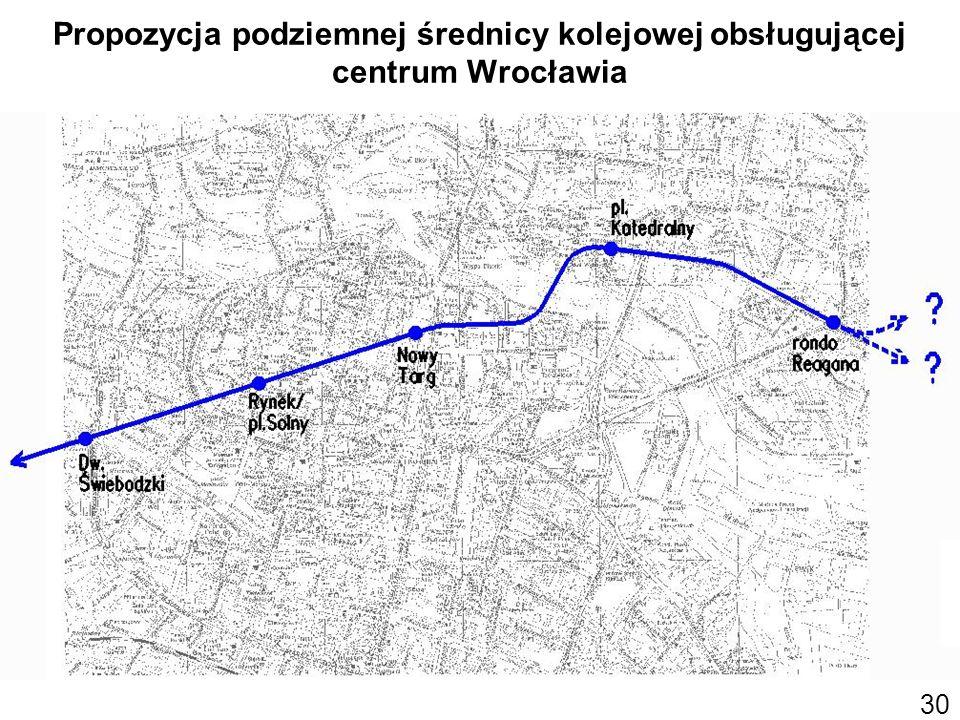 Propozycja podziemnej średnicy kolejowej obsługującej centrum Wrocławia