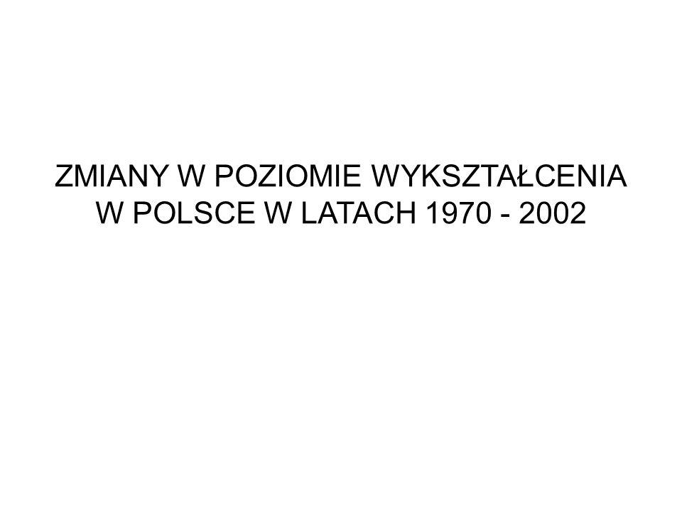 ZMIANY W POZIOMIE WYKSZTAŁCENIA W POLSCE W LATACH 1970 - 2002