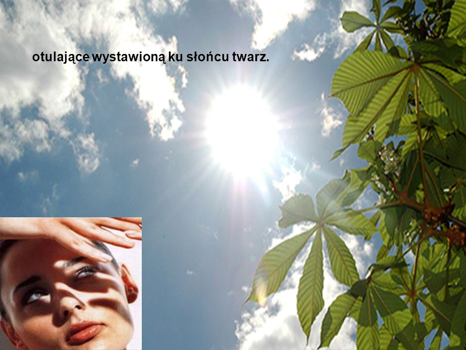 otulające wystawioną ku słońcu twarz.