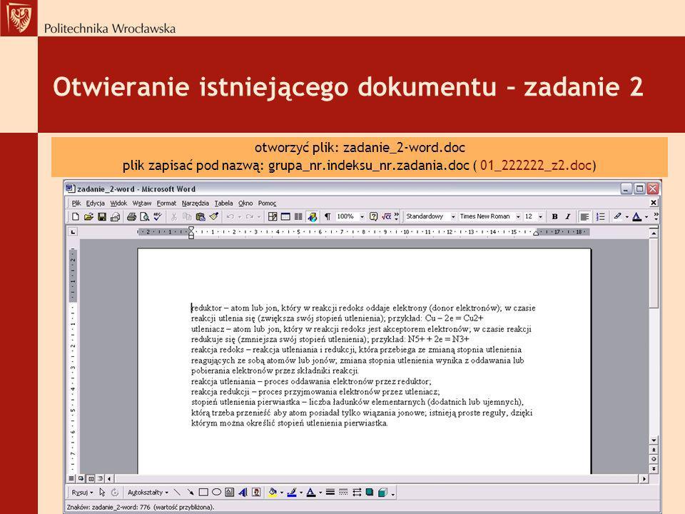 Otwieranie istniejącego dokumentu – zadanie 2