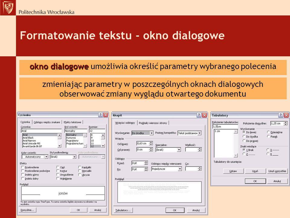 Formatowanie tekstu - okno dialogowe